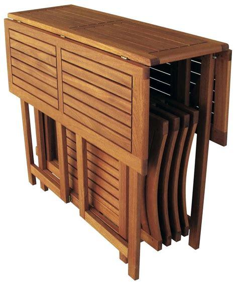 tavolo pieghevole con sedie set legno acacia salvaspazio chiudibile foldies set5