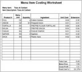 menu costing template 12 best images of restaurant menu worksheets restaurant