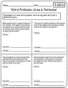 free printable area and perimeter word problems 1000 images about area and perimeter on pinterest area