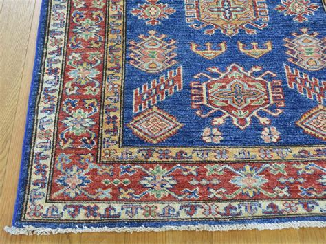 kazak rug 3 x4 denim blue tribal design knotted wool kazak rug sh25770 product 3 x4