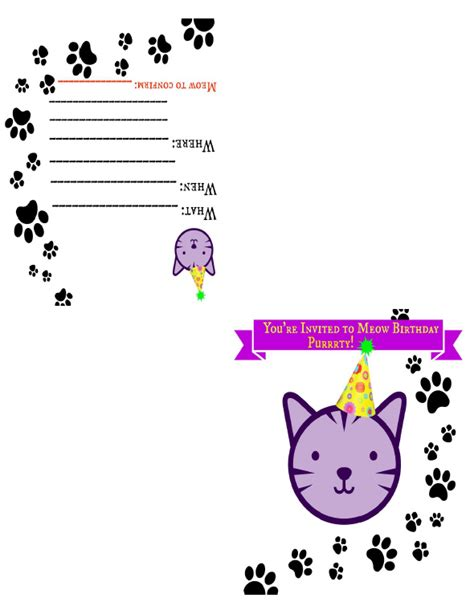 printable birthday cards cats free zensible mama free printable cat themed birthday invite card