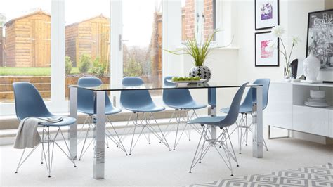 Emerald 6 Seater Glass Top Dining Set Woodys Furniture 6 Seater Glass Dining Table Eames Wire Frame Dining Set Uk