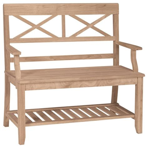 unfinished wooden benches unfinished solid parawood double x back bench