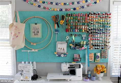 sewing room pegboard ideas organizing small spaces sewing room organization