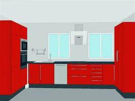 foto juego de cocina en melamina color rojo de francias