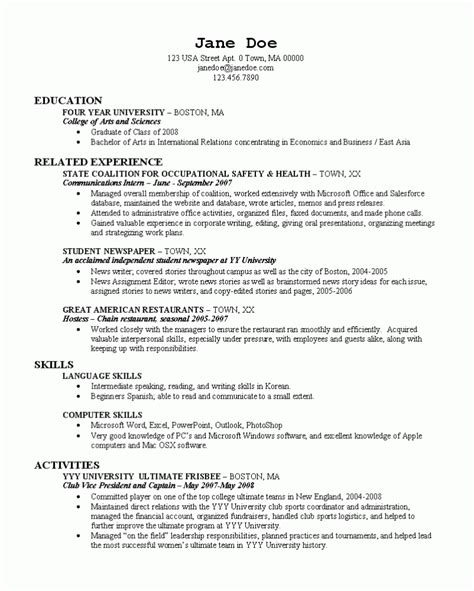 What Should Be On A Resume For College by What Should A College Resume Look Like Resume Ideas
