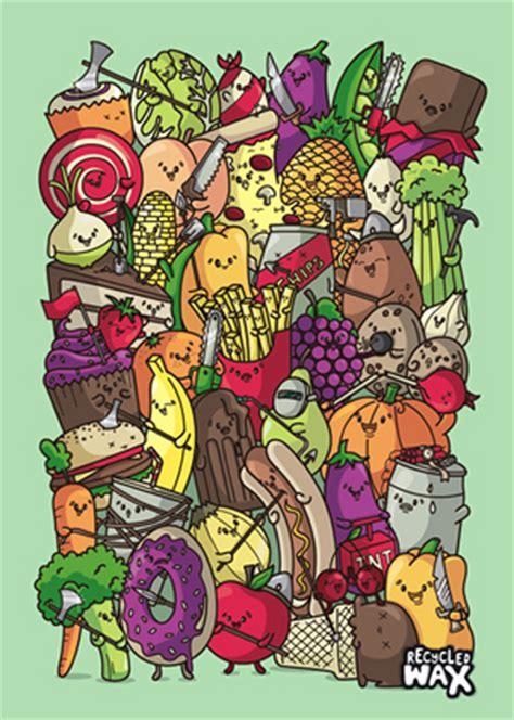 Colorful Doodle Keren 30 inspiring fruits and vegetables vector illustrator