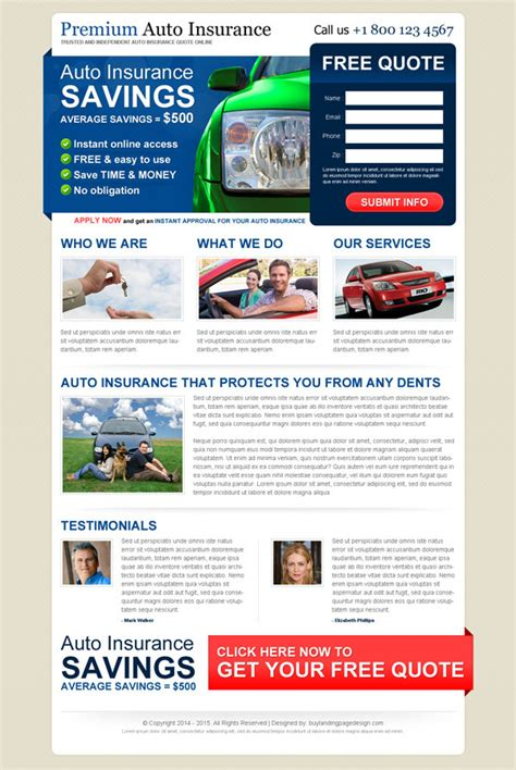 free capture page templates responsive auto insurance landing pages landing page