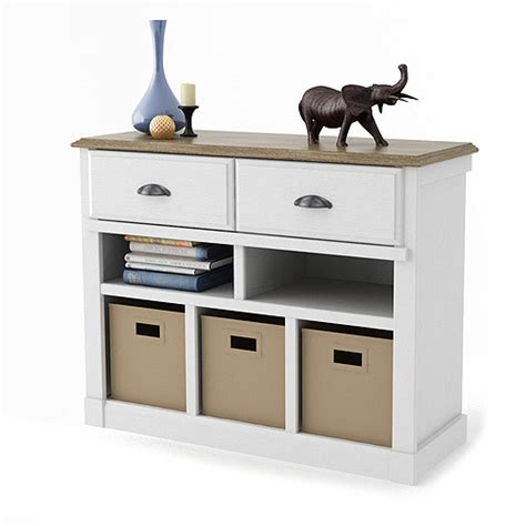 Entryway Console Table with Bins, White and Oak   Walmart.com
