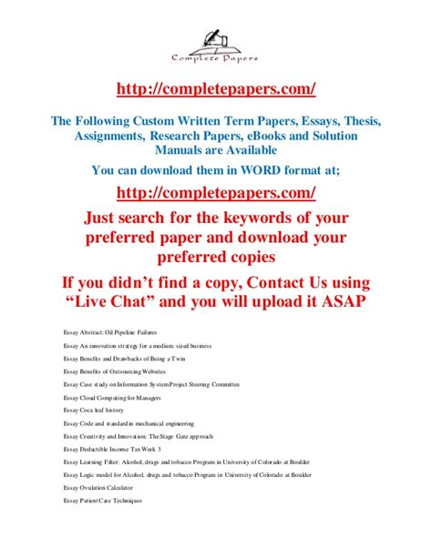 Custom Written Essay by Custom Written Term Papers Thesis Assignments Research Papers E B