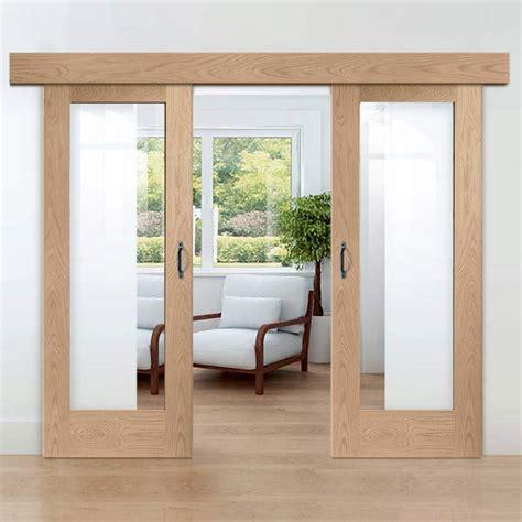 double sliding door wall track pattern  oak  pane