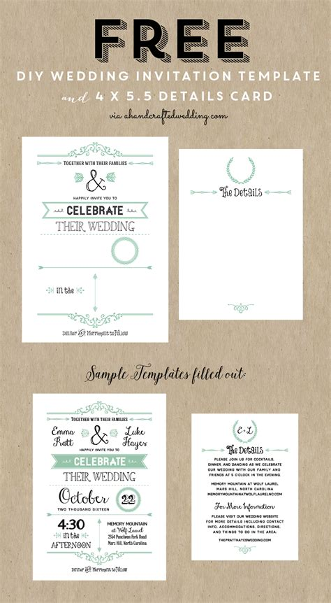 free wedding layout templates free printable wedding invitation template free wedding