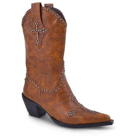 s roper 174 fashion western boots with cross brown