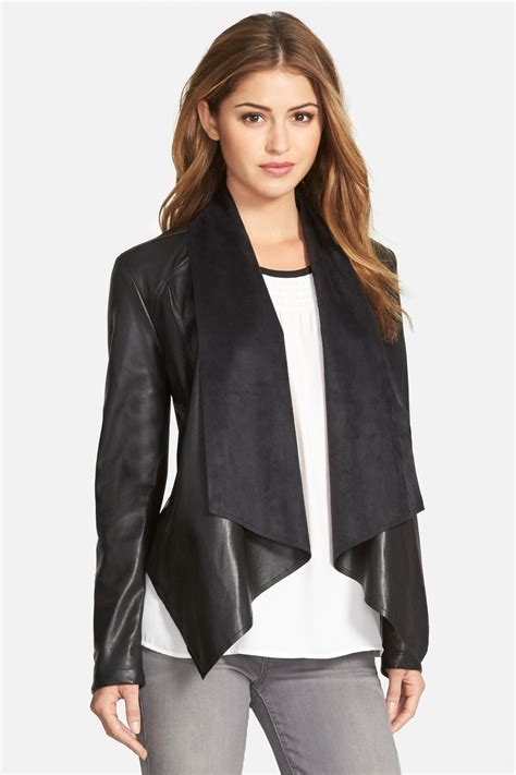 draped faux leather jacket kut from the kloth ana faux leather drape front jacket