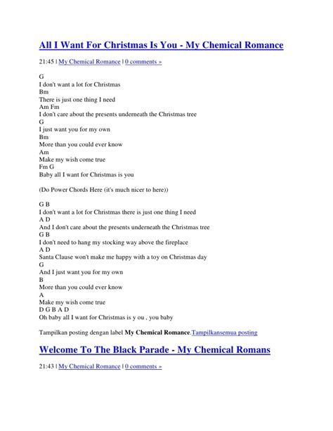 printable lyrics all i want for christmas is you lyric and chord my chemical romance