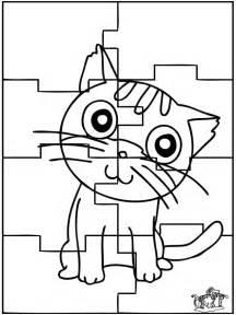 coloring puzzles puzzle cat puzzle