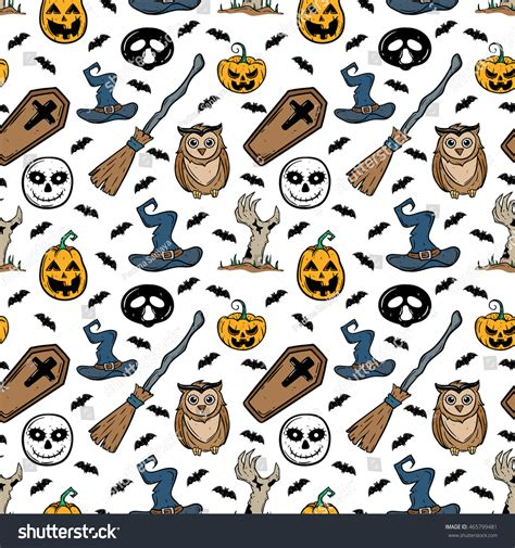 doodle witches hat puzzle doodle seamless pattern elements owl stock