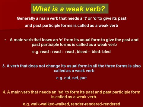 strong and weak verbs presentation language