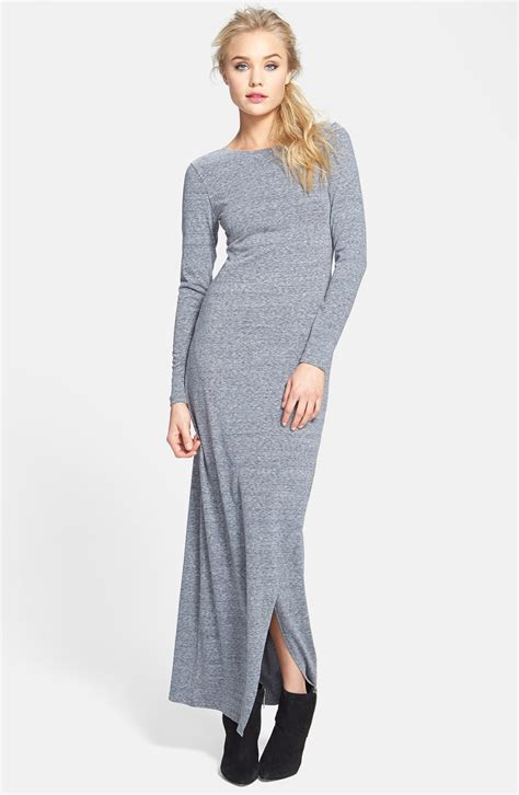 knit dress leith sleeve knit maxi dress in gray cloudy lyst