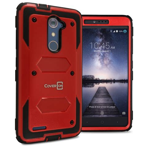 ebay zte zmax pro tough protective hybrid hard armor slim phone cover case