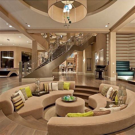 stunning home interiors beautiful modern mansion interior beige brown and green color scheme sunken living room