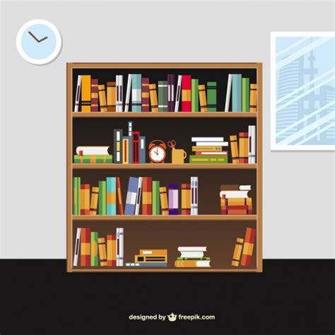books on the shelves in style vector free