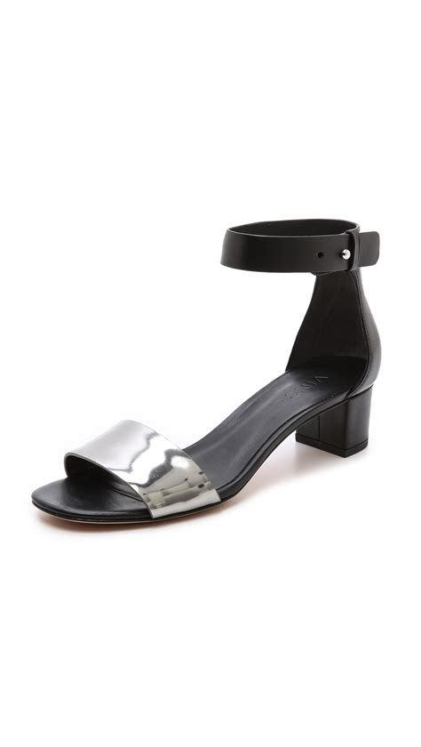 heeled sandal lyst vince remy low heel sandals in black