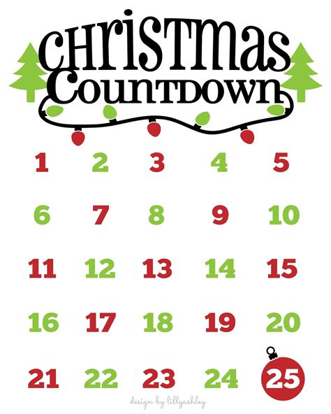 printable christmas countdown make it create by lillyashley freebie downloads