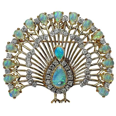 Peacock Brooch opal gold peacock brooch peacocks brooches and