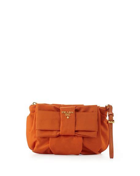Prada Saffiano Clutch Vs Tessuto Fiocco Bow Bag by Prada Tessuto Bow Wristlet Orange Papaya
