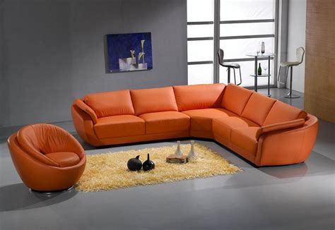 sofa orange color 3333 contemporary leather sectional sofa in orange color