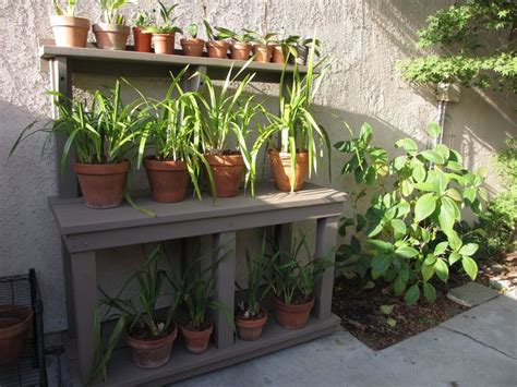 potting bench orchid stand  husband built