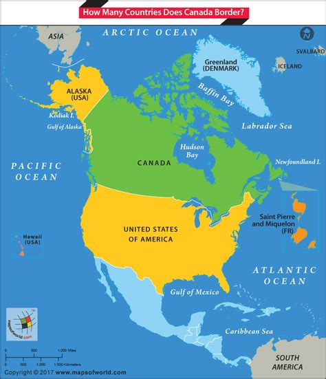 map of united states and canada border how many countries does canada border answers