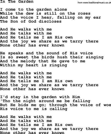 The Garden Lyrics by Willie Nelson Song In The Garden Lyrics