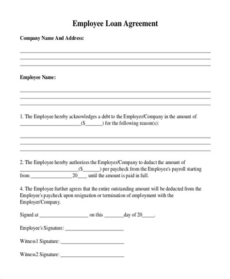 Employee Loan Agreement Template Free loan agreement template residential construction loan
