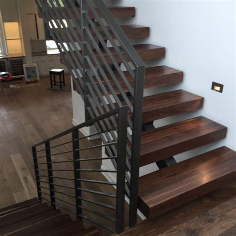 black walnut  stair treads contemporary staircase