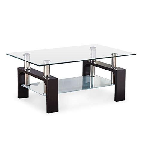 Virrea Rectangular Glass Coffee Table Shelf Wood Living