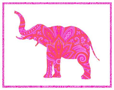 elephant tattoo paisley tangerine orange and hot pink indian paisley elephant