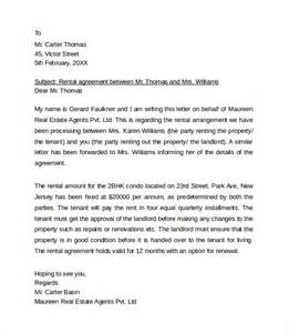 sample rental agreement letter template 8 download free