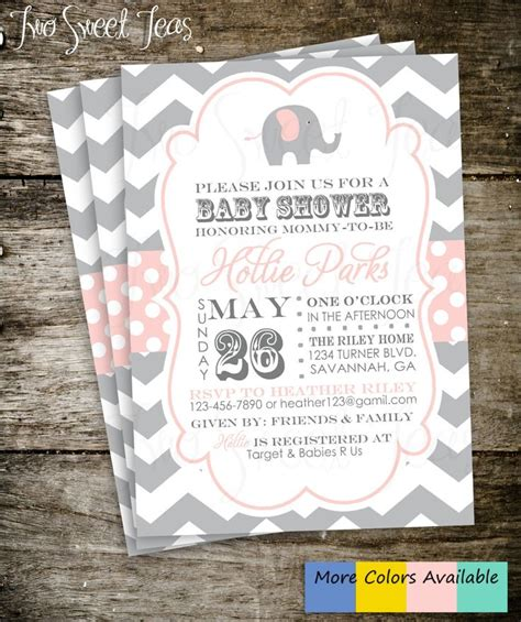 elephant baby shower invitation chevron gray pink by