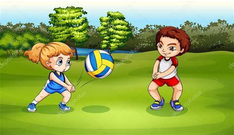 imagenes de niños jugando volibol una ni 241 a y un ni 241 o jugando voleibol vector de stock