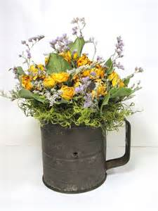 dried flower arrangement dried vintage sifter
