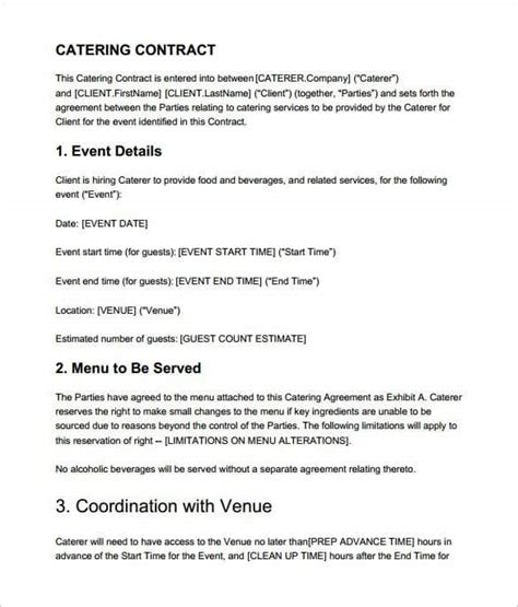 catering contract templates word  word excel formats