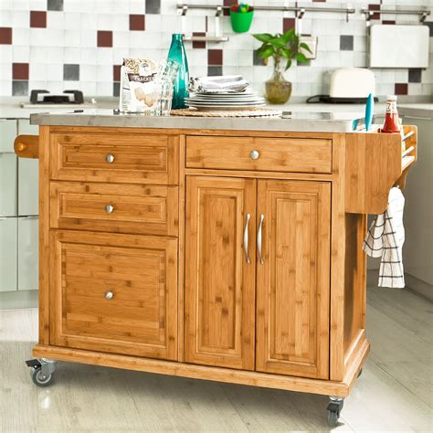 kitchen trolleys and islands sobuy kitchen trolley with storage cabinet bestbutchersblock