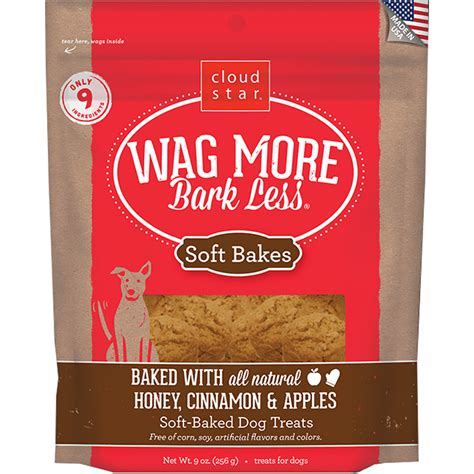 wag more dogs wag more bark less 174 soft baked treats honey cinnamon apples 9 oz healthypets