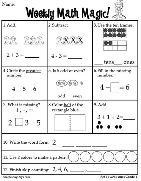 1st Grade Common Math Worksheets by Classroom Freebies Grade Math Magic Ccss Aligned