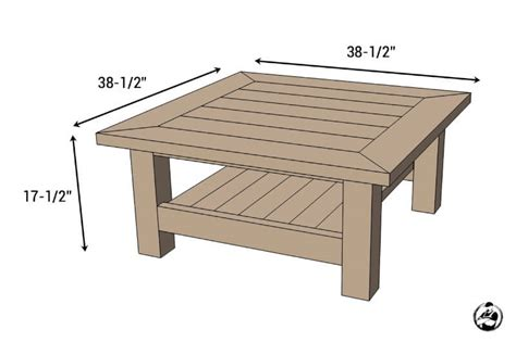 coffee table size square coffee table w planked top free diy plans