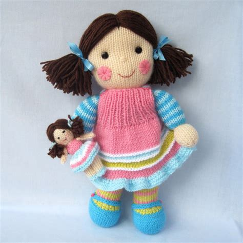 knitting pattern toys maisie and her little doll knitted toy dolly instant