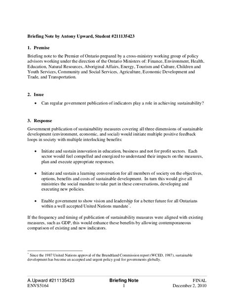 ministerial briefing template briefing document exle sle briefing note 5