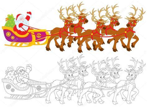 imagenes de santa claus con los renos unidades en su trineo tirado por renos de santa claus con